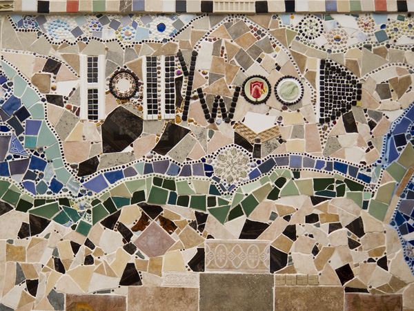 mosaic tiles, hollywood sign