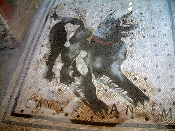 beware of the dog mosaic, ancient roman mosaics