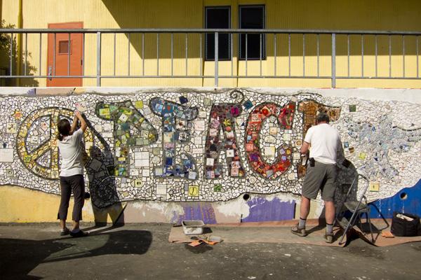 peace mosaic oakland, pam consear, mosaic mural bret harte