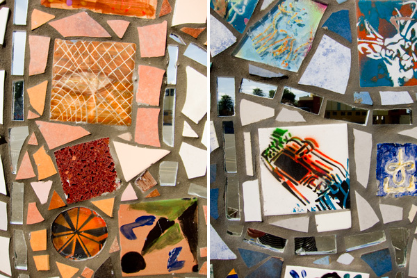 hand crafted tiles, painted stencil tiles, peace mosaic