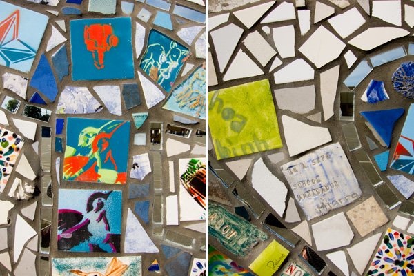 hand crafted tiles, oakland peace mosaic, pam consear murals