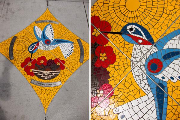 snapshot mosaics, dimond public art, sidewalk mosaics
