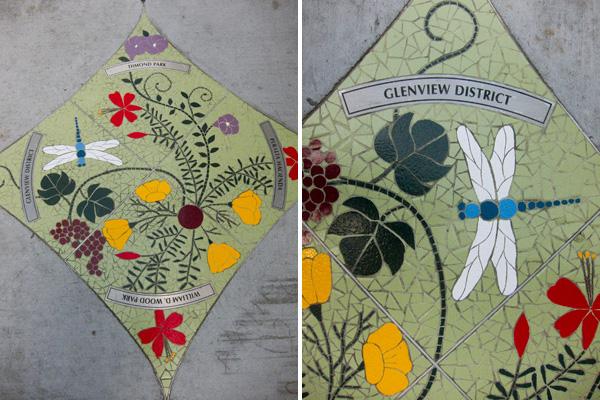 dimond public art, dragonfly mosaic, gina dominguez mosaics