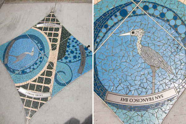oakland public art, city of oakland sponsored art, heron mosaic