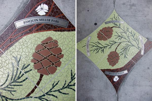 sequoia mosaic, snapshot mosaics, sidewalk mosaics, oakland public art