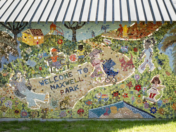 maxwell park mosaic, krista kiem mosaic artist, community art projects