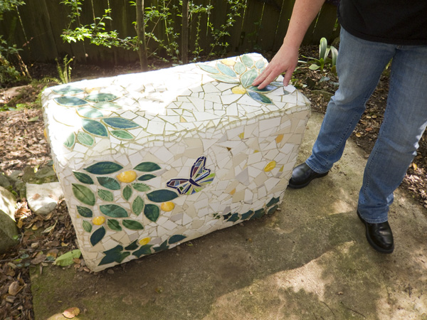 Saundra Warren tiles, garden table