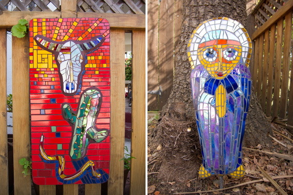 outdoor mosaics, garden mosaics, oakland mosaic artist