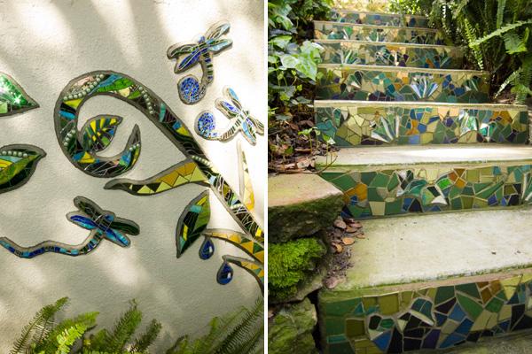 dragon fly mosaics, garden mosaics, kim larson mosaics