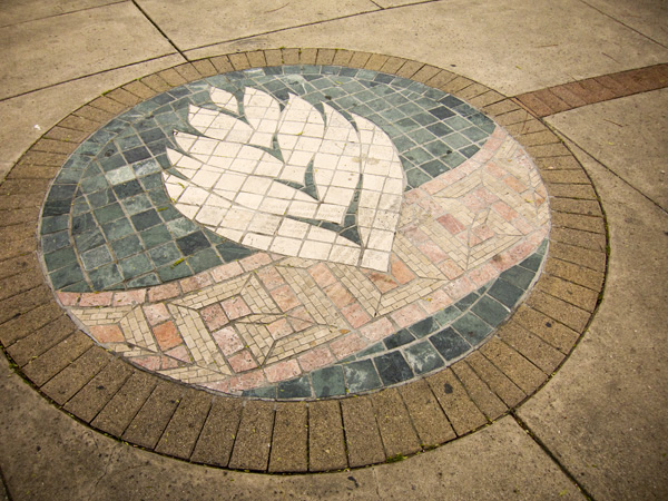 large scale stone mosaics, fruitvale village
