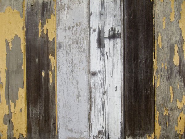 peeling paint, recycled wood fence