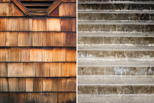 wood siding, concrete steps, abstract photography