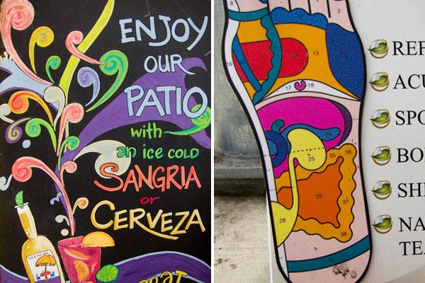 Colorful street signage, chalkboard signage