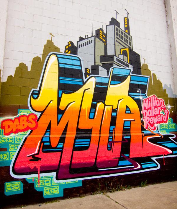 myla graffiti, myla oakland mural, myla few and far