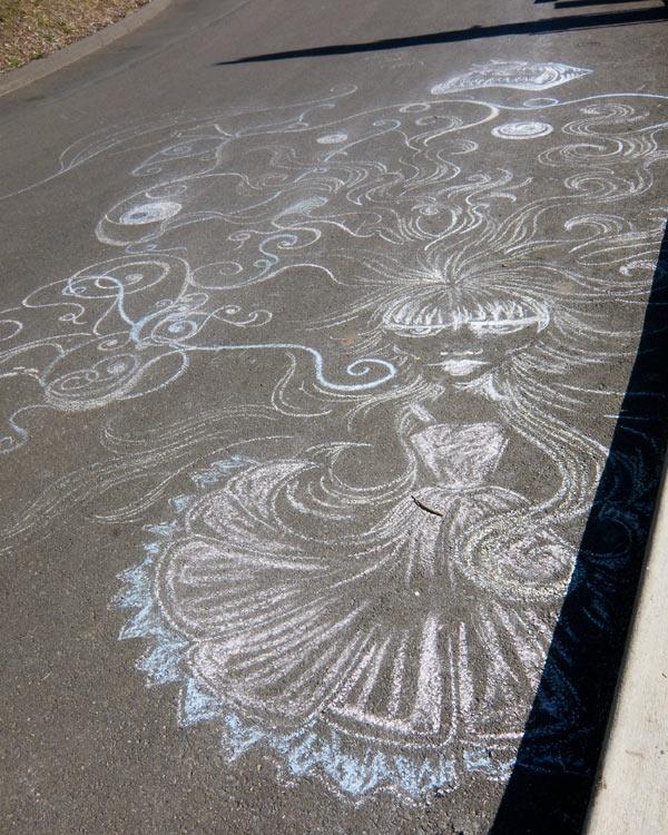 art in the road, sidewalk chalk art in cemetery