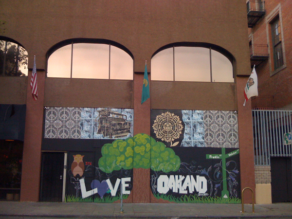 love oakland, modified obey giant mural, downtown oakland street beautification