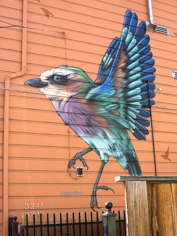 bird mural, ernest doty, bird graffiti