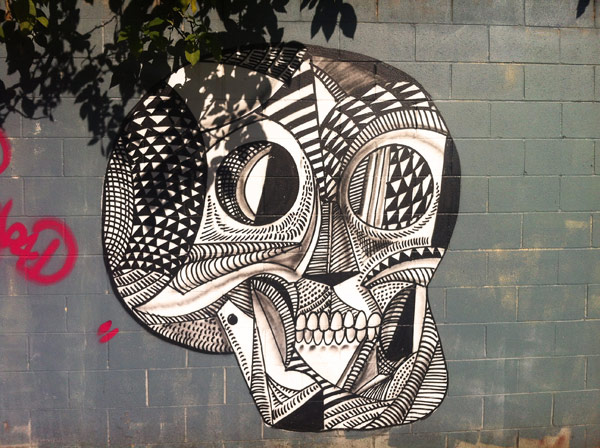 skull mural, black and white skull