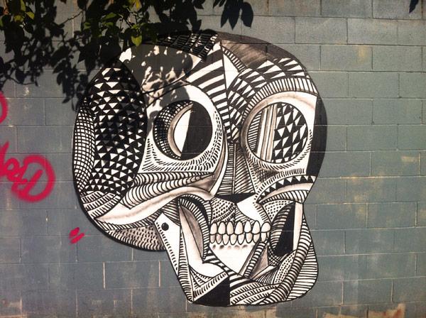 skull mural, black and white skull
